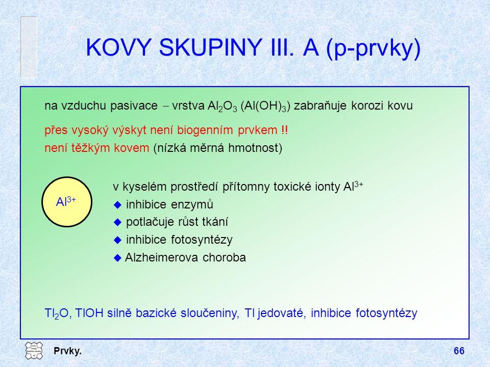 KOVY SKUPINY III. A (p-prvky)