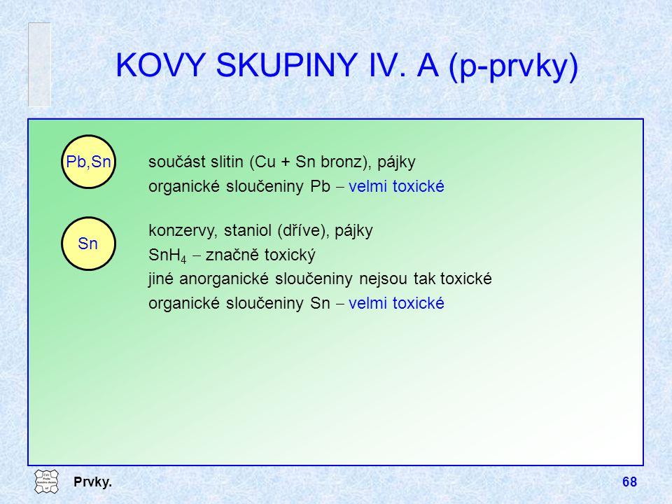 KOVY SKUPINY IV. A (p-prvky)
