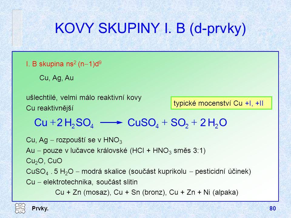 KOVY SKUPINY I. B (d-prvky)