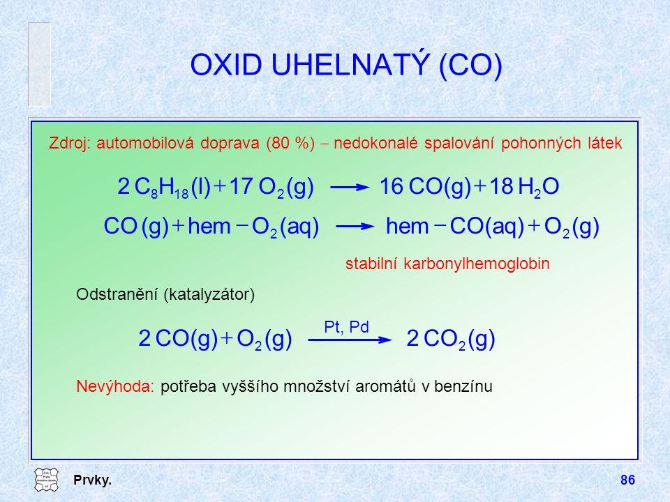 OXID UHELNATÝ (CO) O H 18 CO(g) 16 (g) 17 (l) C 2 + (g) O CO(aq) hem