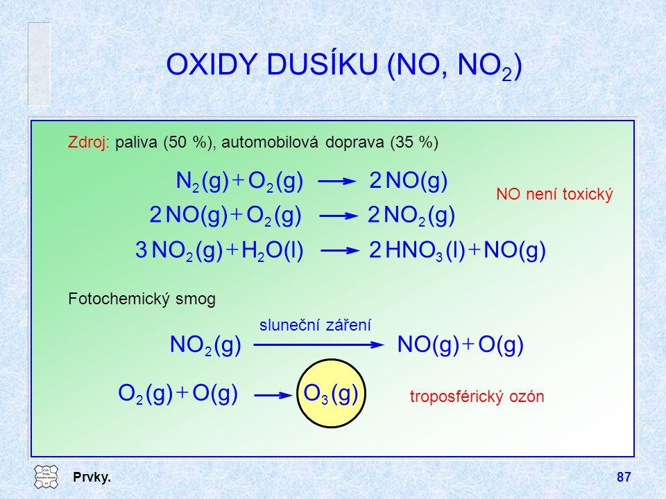 OXIDY DUSÍKU (NO, NO2) NO(g) 2 (g) O N + (g) NO 2 O NO(g) + NO(g) (l)