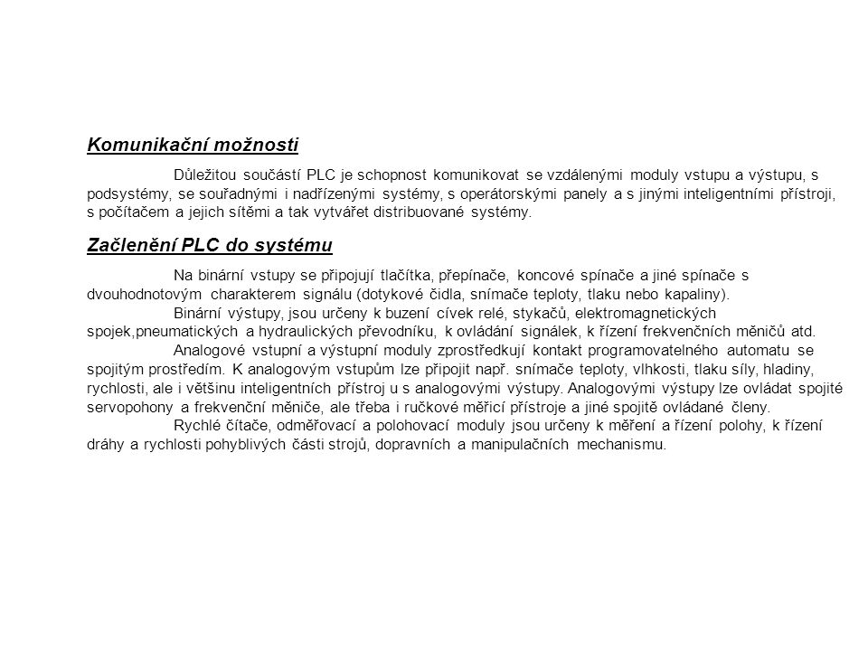 Začlenění PLC do systému