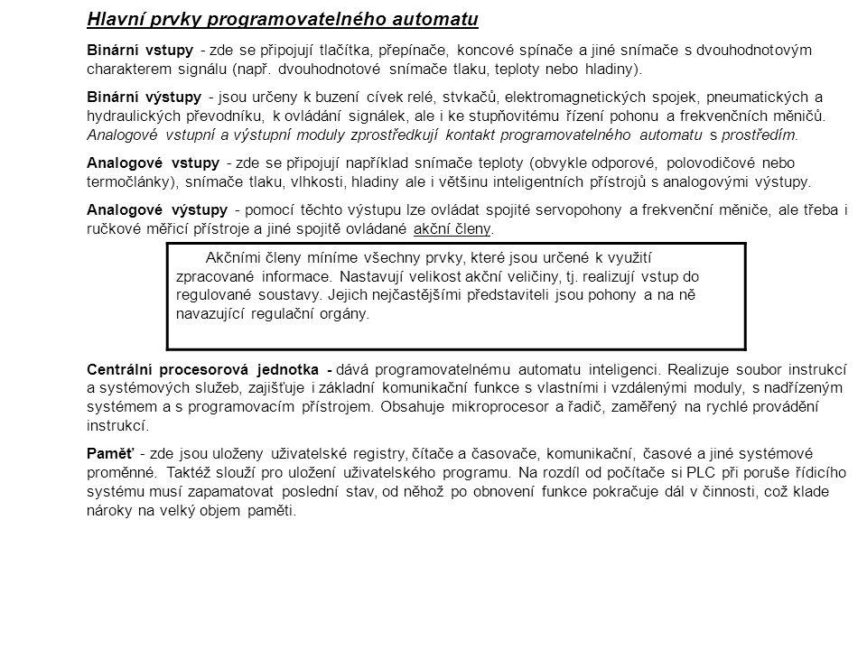 Hlavní prvky programovatelného automatu