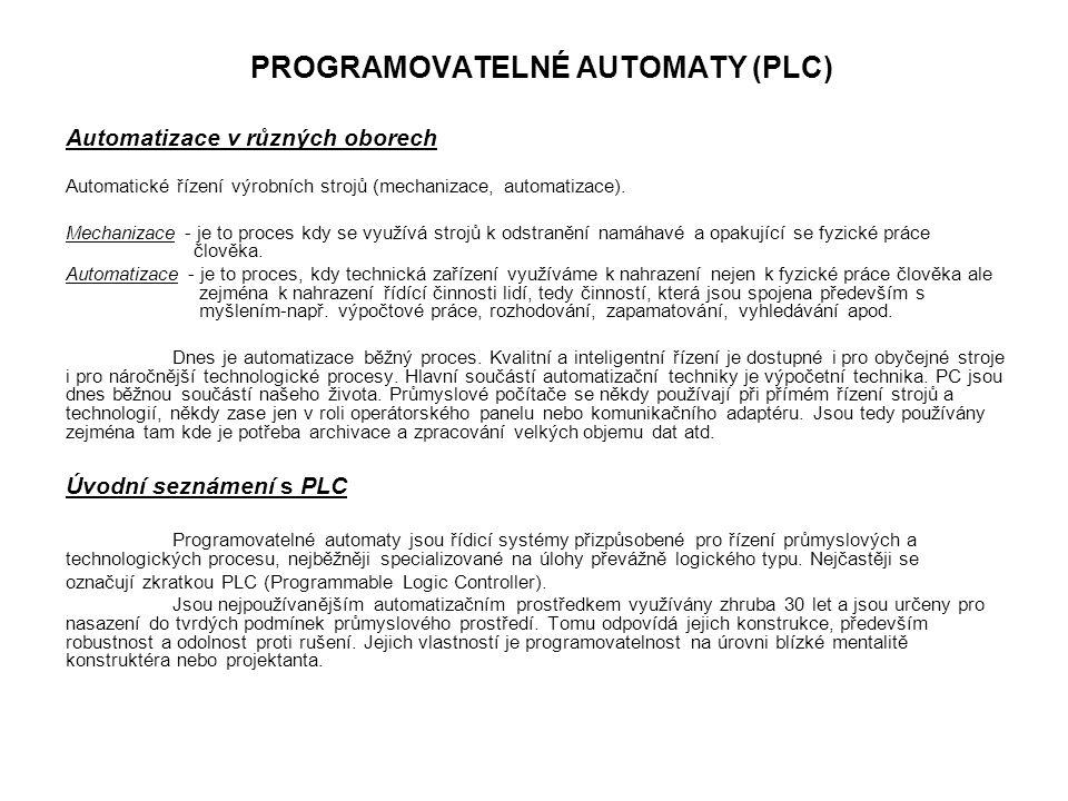 PROGRAMOVATELNÉ AUTOMATY (PLC)