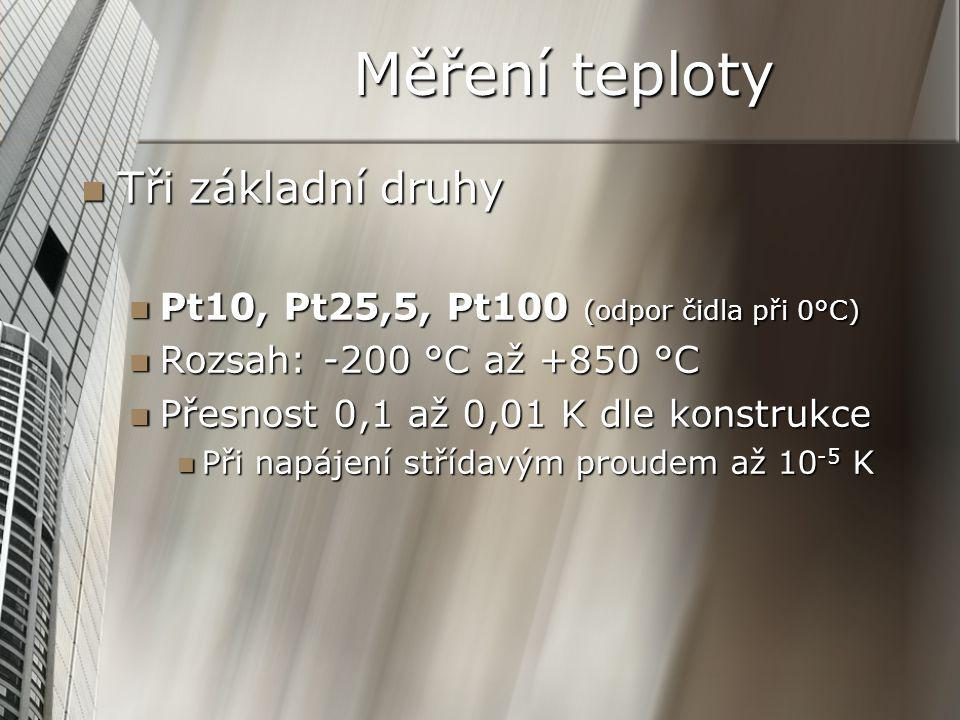 Měření teploty Tři základní druhy