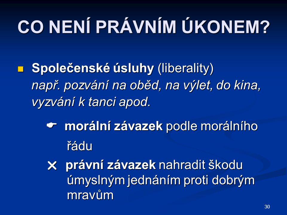 CO NENÍ PRÁVNÍM ÚKONEM Společenské úsluhy (liberality)