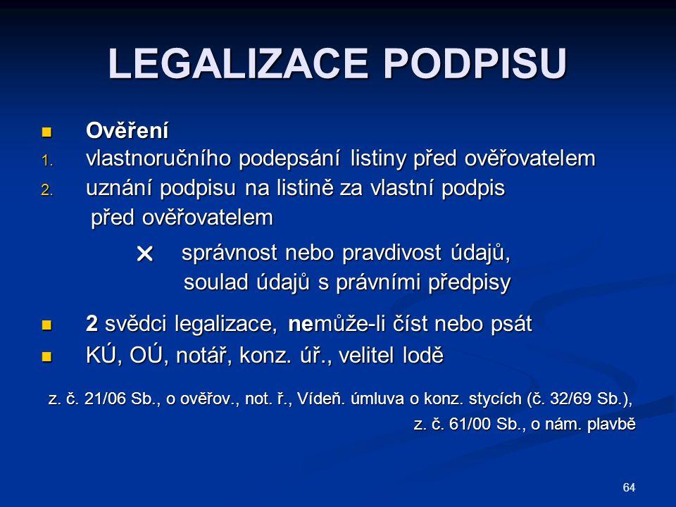 LEGALIZACE PODPISU Ověření