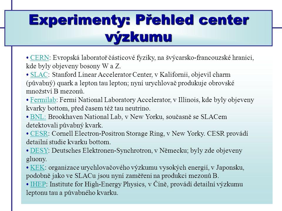 Experimenty: Přehled center výzkumu
