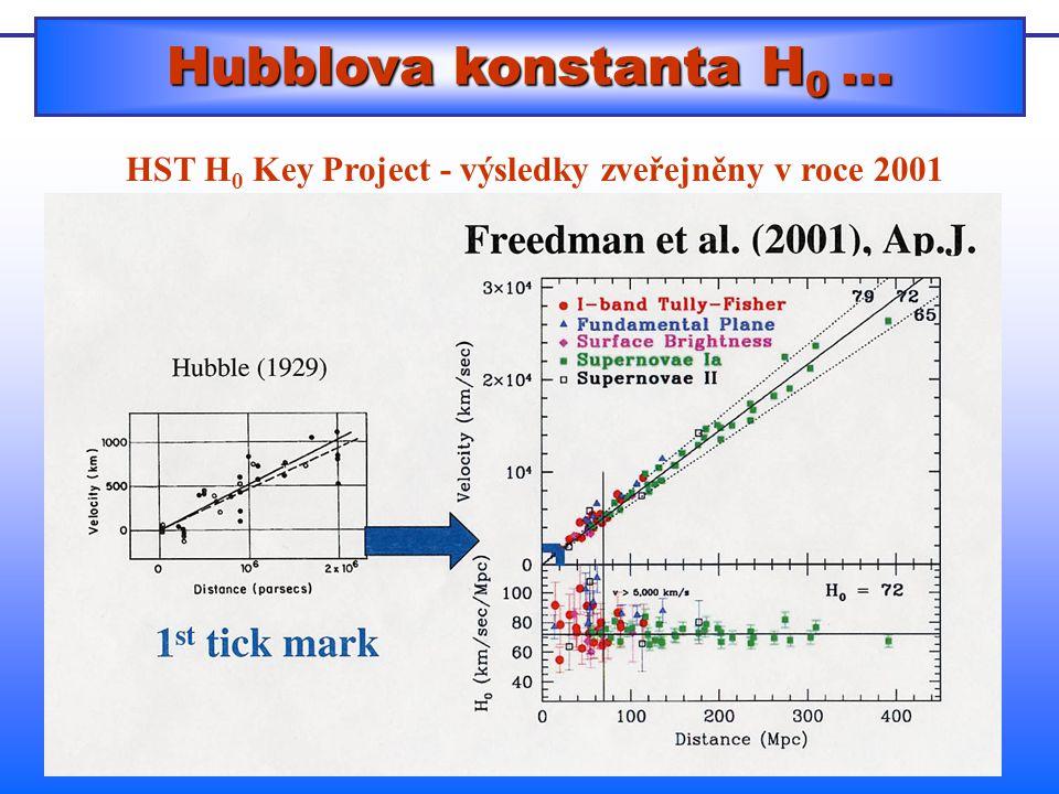 Hubblova konstanta H0 ... HST H0 Key Project - výsledky zveřejněny v roce 2001