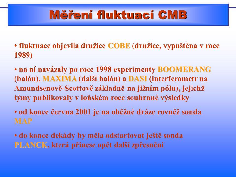 Měření fluktuací CMB • fluktuace objevila družice COBE (družice, vypuštěna v roce 1989)