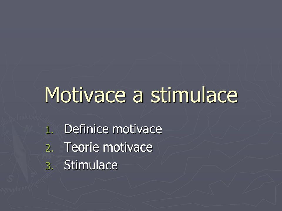 Definice motivace Teorie motivace Stimulace