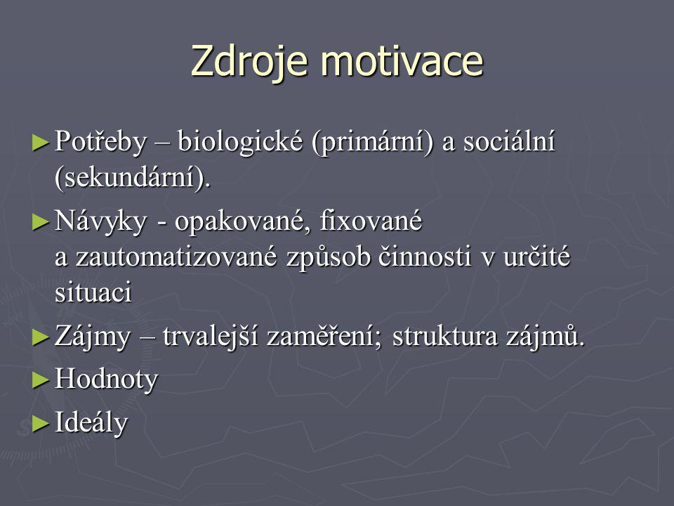 Zdroje motivace Potřeby – biologické (primární) a sociální (sekundární).