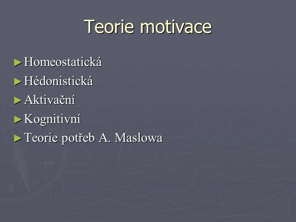 Teorie motivace Homeostatická Hédonistická Aktivační Kognitivní