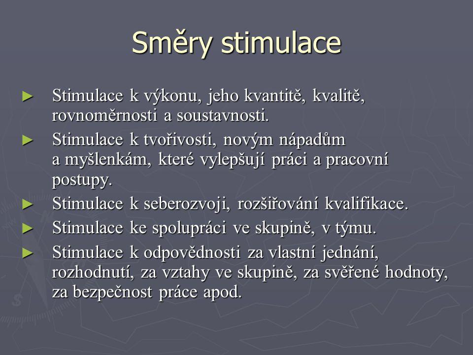 Směry stimulace Stimulace k výkonu, jeho kvantitě, kvalitě, rovnoměrnosti a soustavnosti.