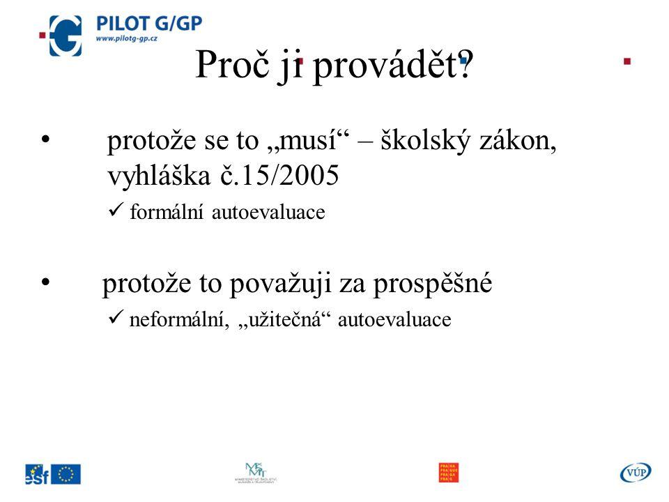 """Proč ji provádět protože se to """"musí – školský zákon, vyhláška č.15/2005. formální autoevaluace."""
