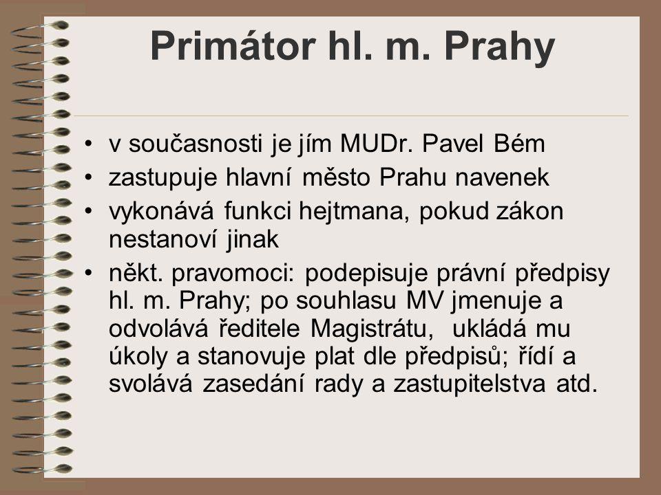Primátor hl. m. Prahy v současnosti je jím MUDr. Pavel Bém
