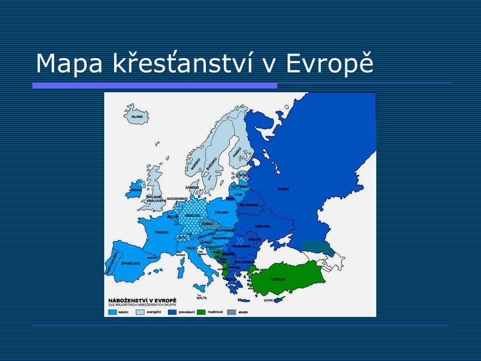 Mapa křesťanství v Evropě