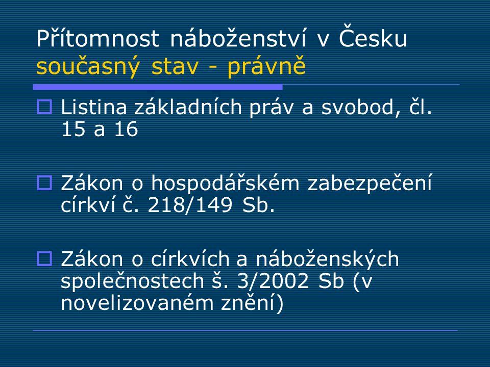 Přítomnost náboženství v Česku současný stav - právně