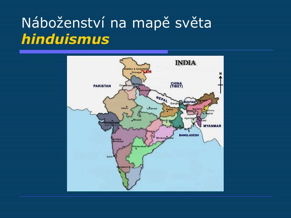 Náboženství na mapě světa hinduismus