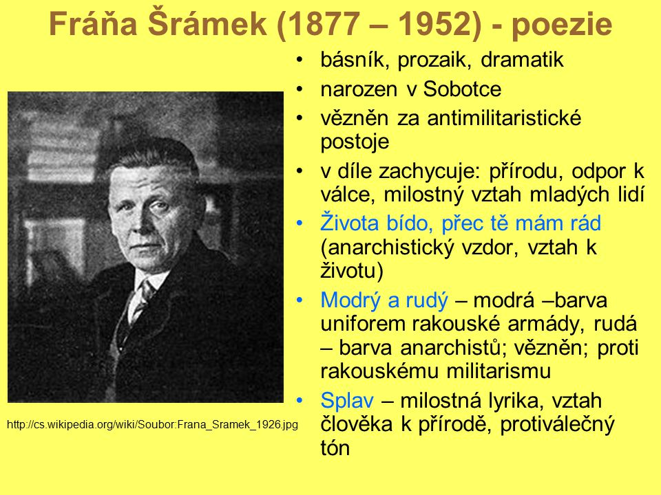 Fráňa Šrámek (1877 – 1952) - poezie