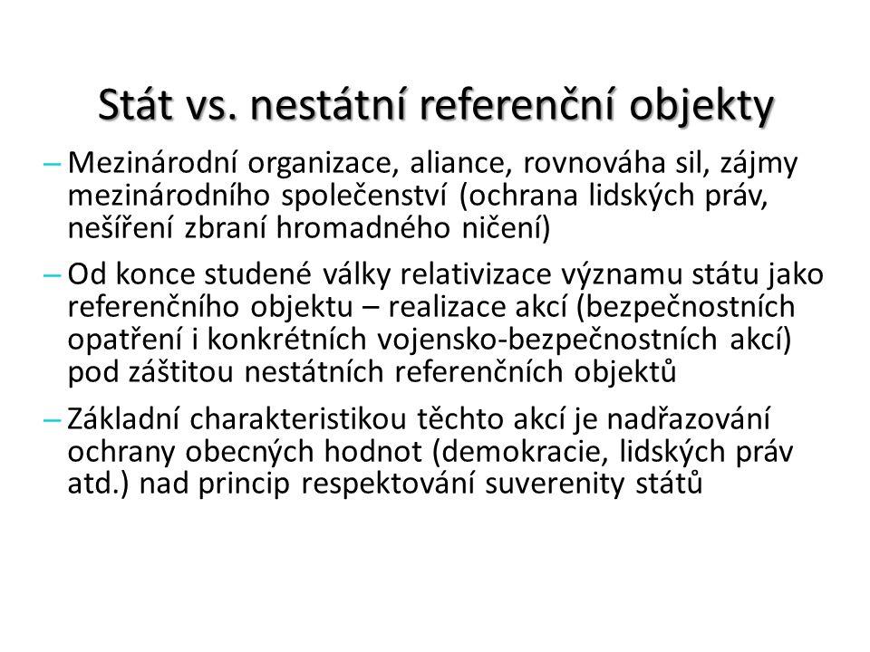 Stát vs. nestátní referenční objekty