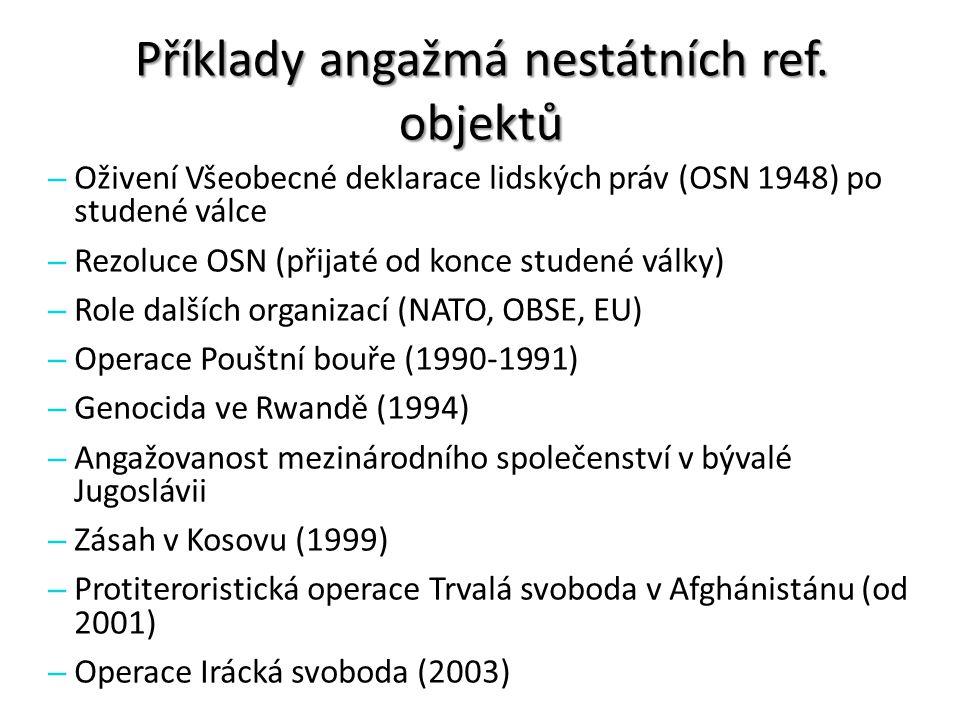 Příklady angažmá nestátních ref. objektů