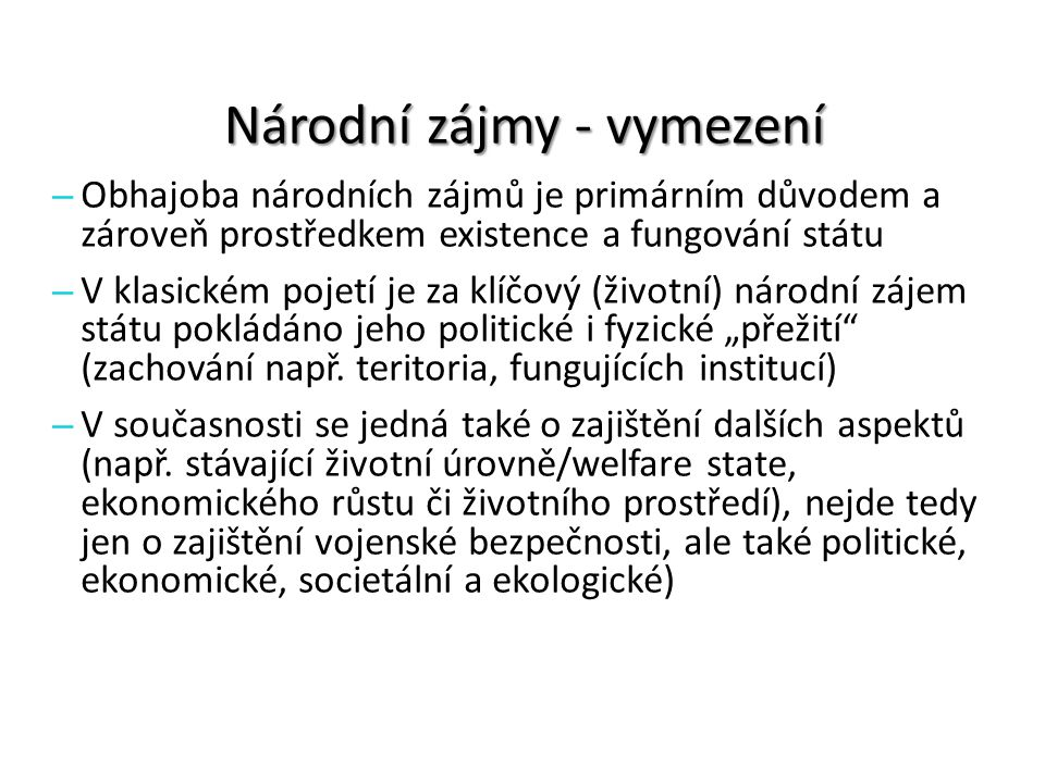 Národní zájmy - vymezení