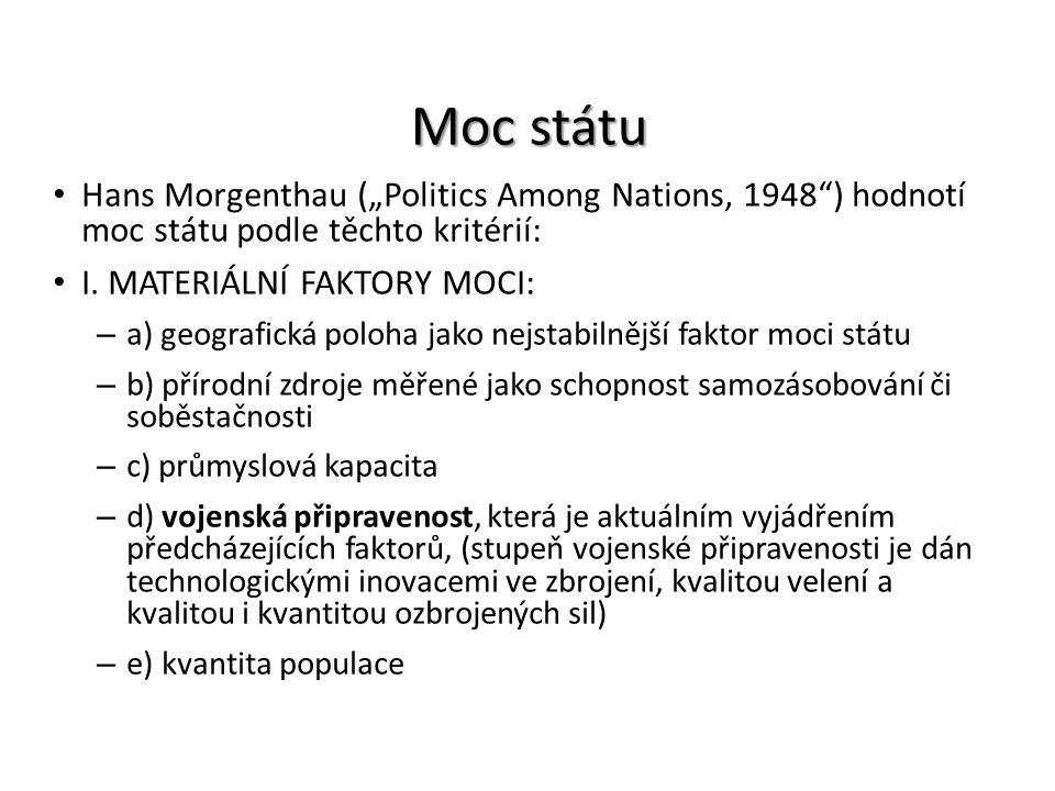 """Moc státu Hans Morgenthau (""""Politics Among Nations, 1948 ) hodnotí moc státu podle těchto kritérií:"""