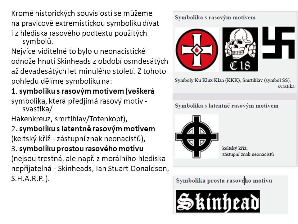 Kromě historických souvislostí se můžeme na pravicově extremistickou symboliku dívat i z hlediska rasového podtextu použitých symbolů.
