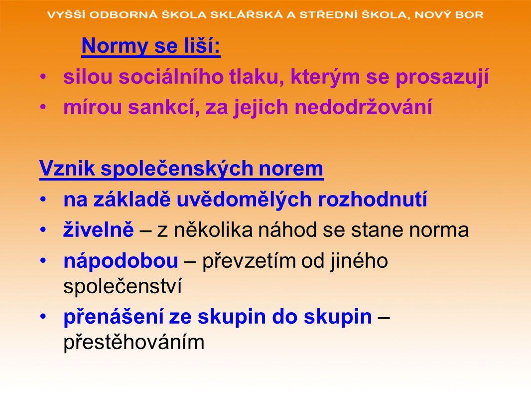 Normy se liší: silou sociálního tlaku, kterým se prosazují. mírou sankcí, za jejich nedodržování. Vznik společenských norem.