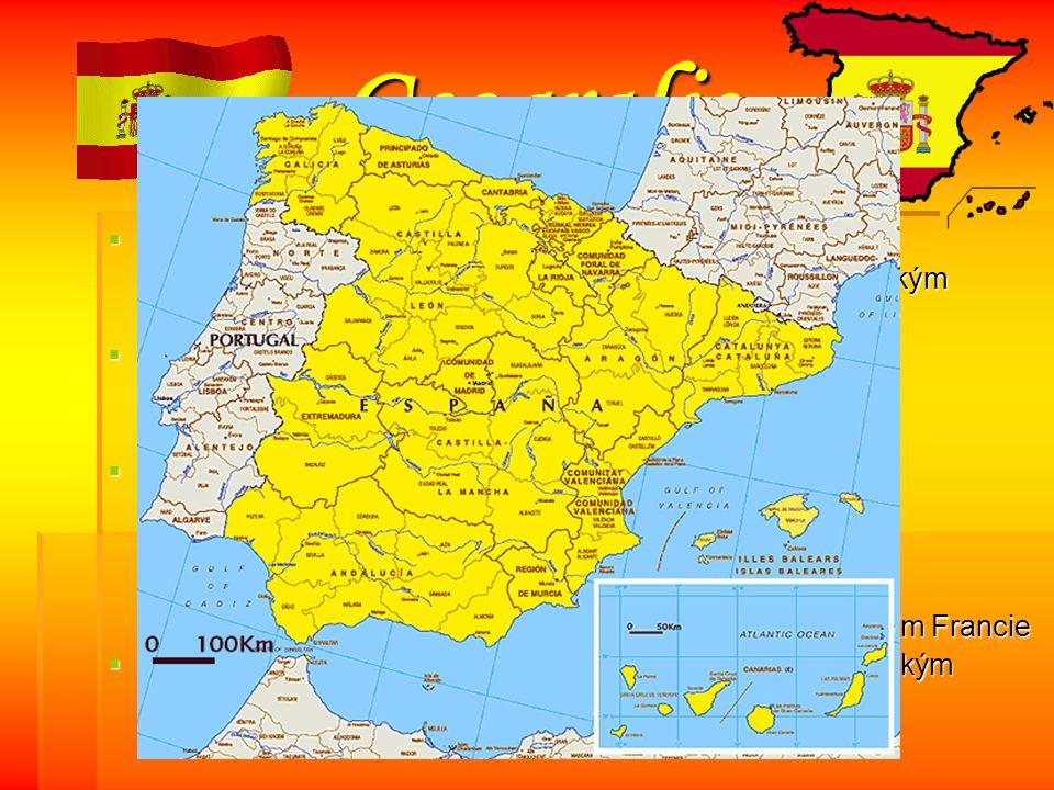 Geografie Stát rozkládající se na Pyrenejském poloostrově