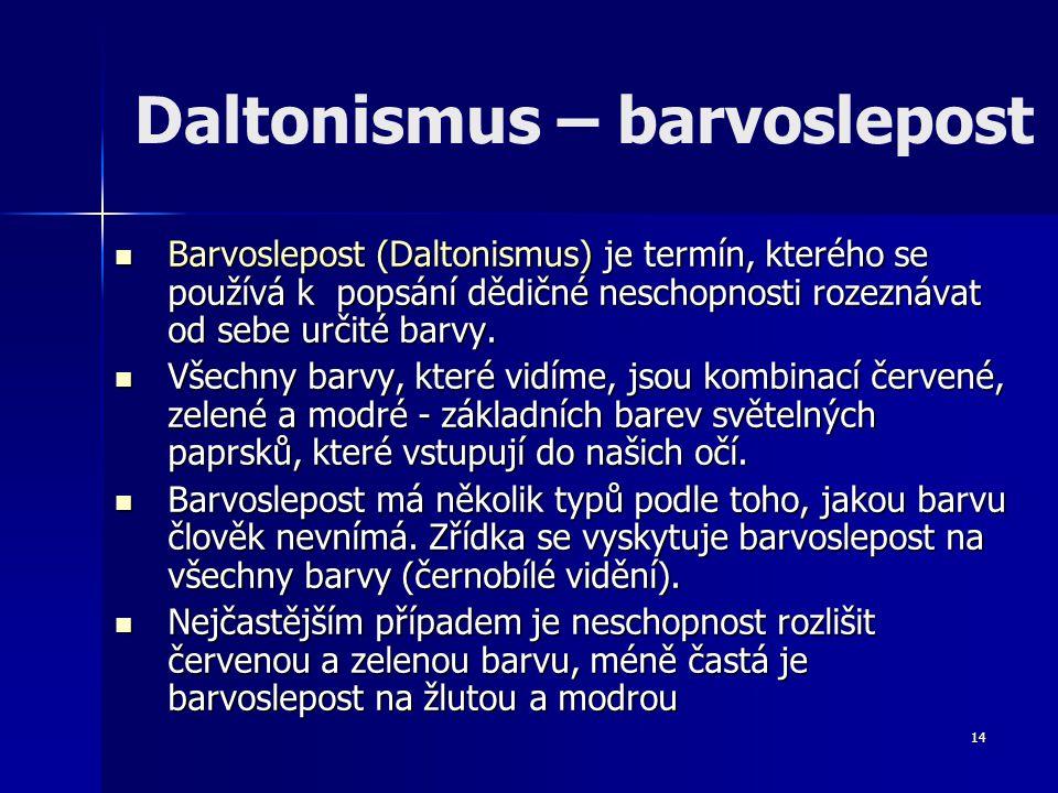 Daltonismus – barvoslepost