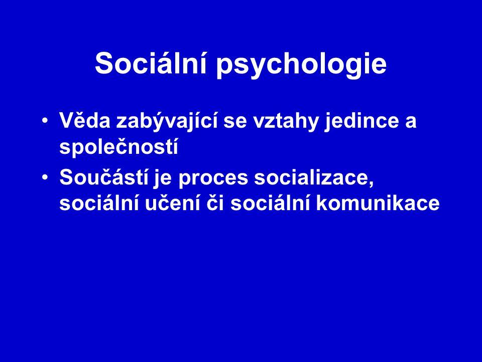 Sociální psychologie Věda zabývající se vztahy jedince a společností