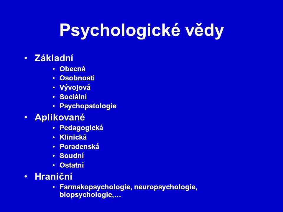 Psychologické vědy Základní Aplikované Hraniční Obecná Osobnosti