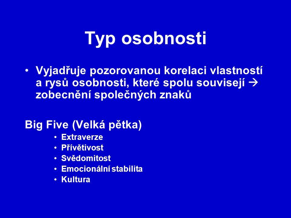Typ osobnosti Vyjadřuje pozorovanou korelaci vlastností a rysů osobnosti, které spolu souvisejí  zobecnění společných znaků.