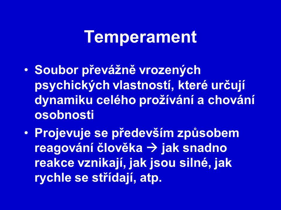 Temperament Soubor převážně vrozených psychických vlastností, které určují dynamiku celého prožívání a chování osobnosti.