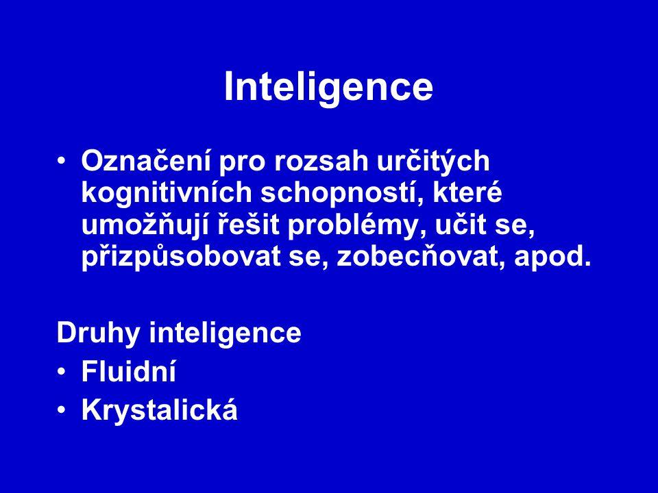 Inteligence Označení pro rozsah určitých kognitivních schopností, které umožňují řešit problémy, učit se, přizpůsobovat se, zobecňovat, apod.