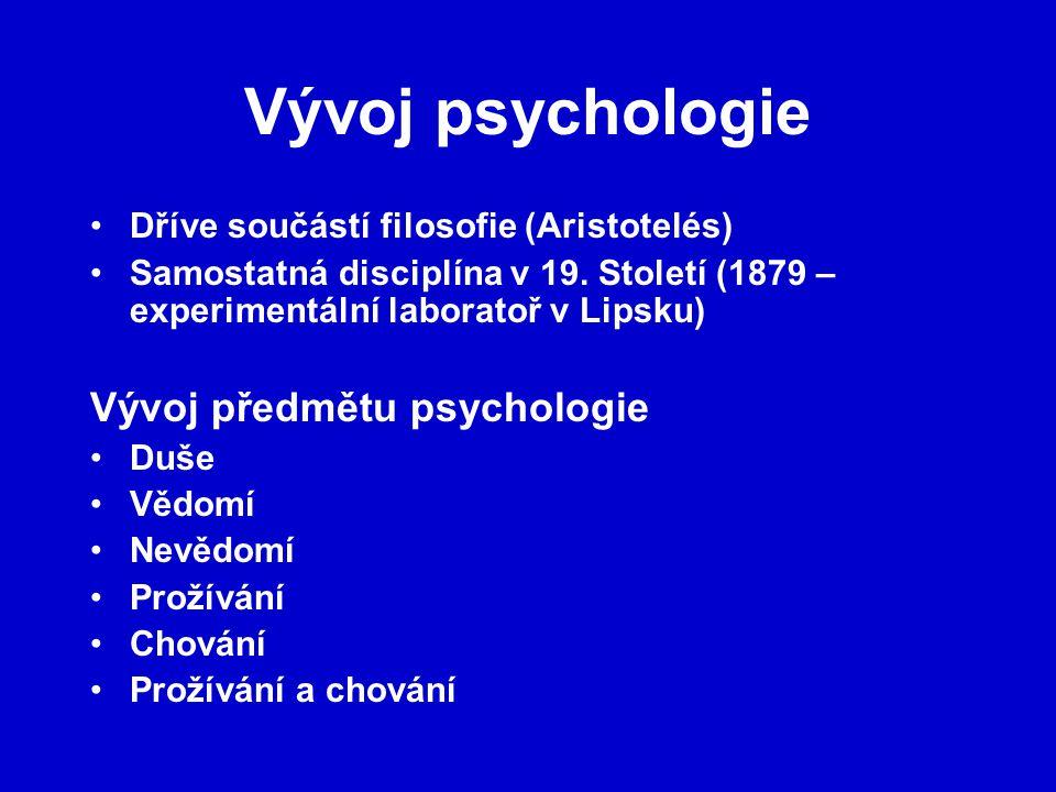 Vývoj psychologie Vývoj předmětu psychologie