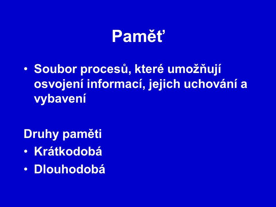 Paměť Soubor procesů, které umožňují osvojení informací, jejich uchování a vybavení. Druhy paměti.