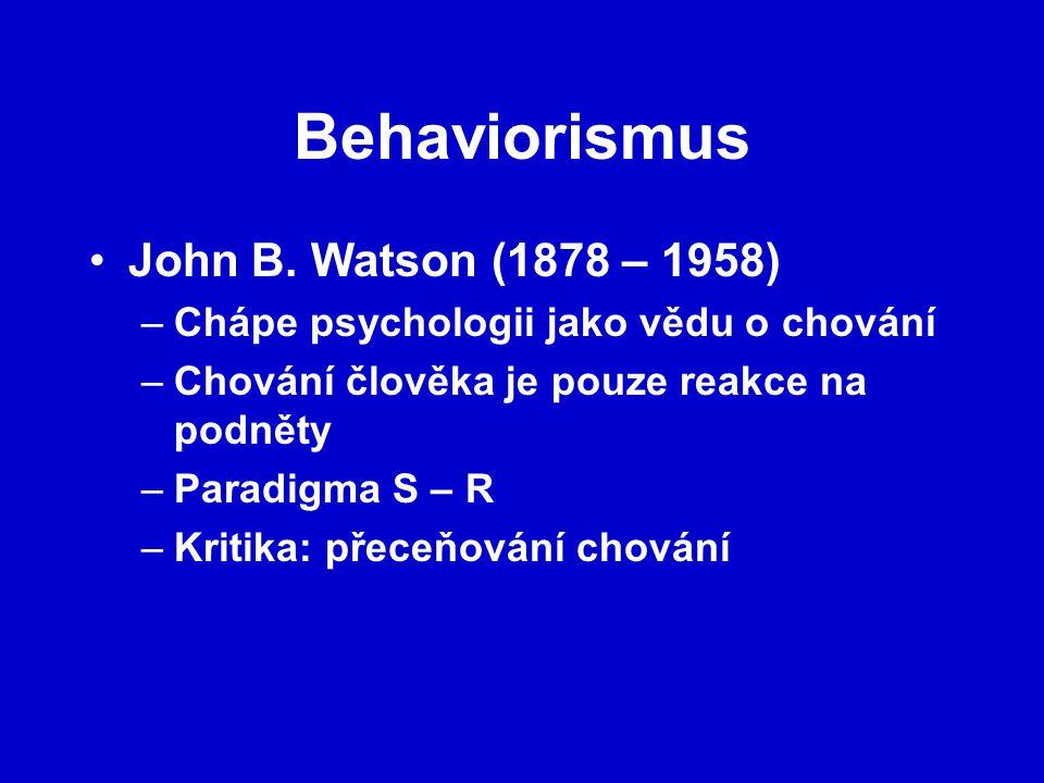 Behaviorismus John B. Watson (1878 – 1958)