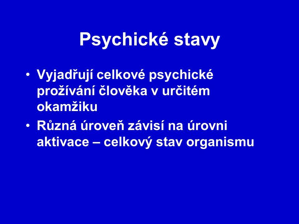 Psychické stavy Vyjadřují celkové psychické prožívání člověka v určitém okamžiku.