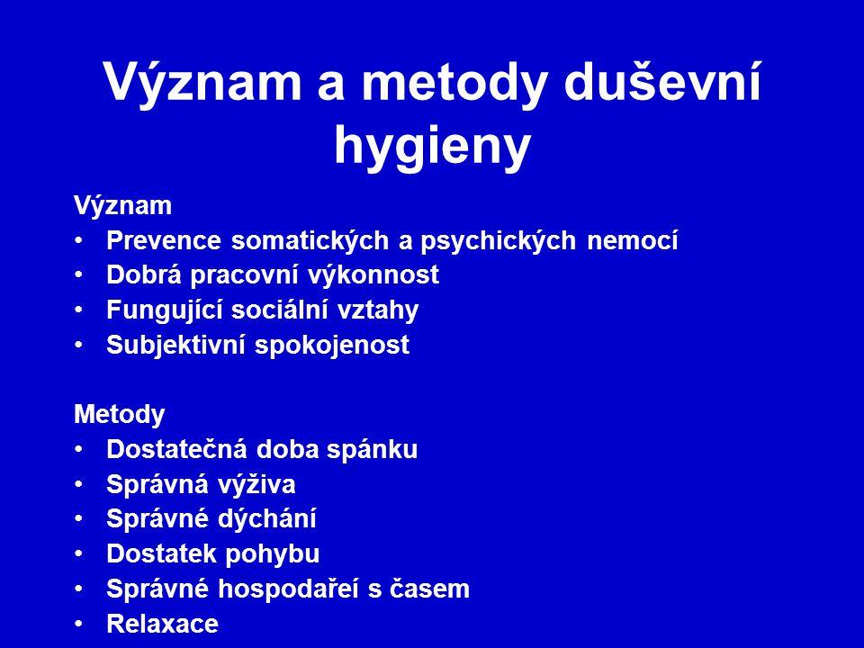 Význam a metody duševní hygieny