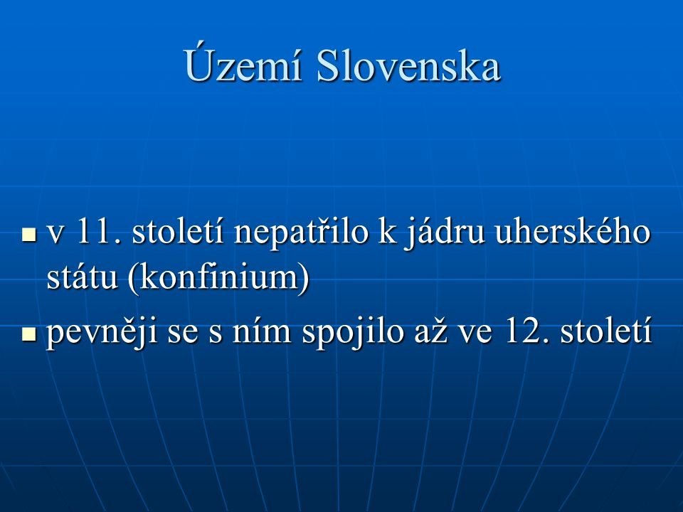 Území Slovenska v 11.