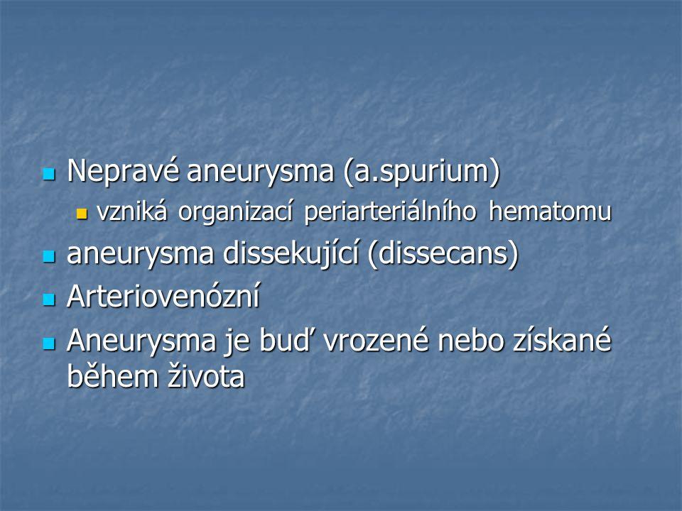 Nepravé aneurysma (a.spurium) aneurysma dissekující (dissecans)