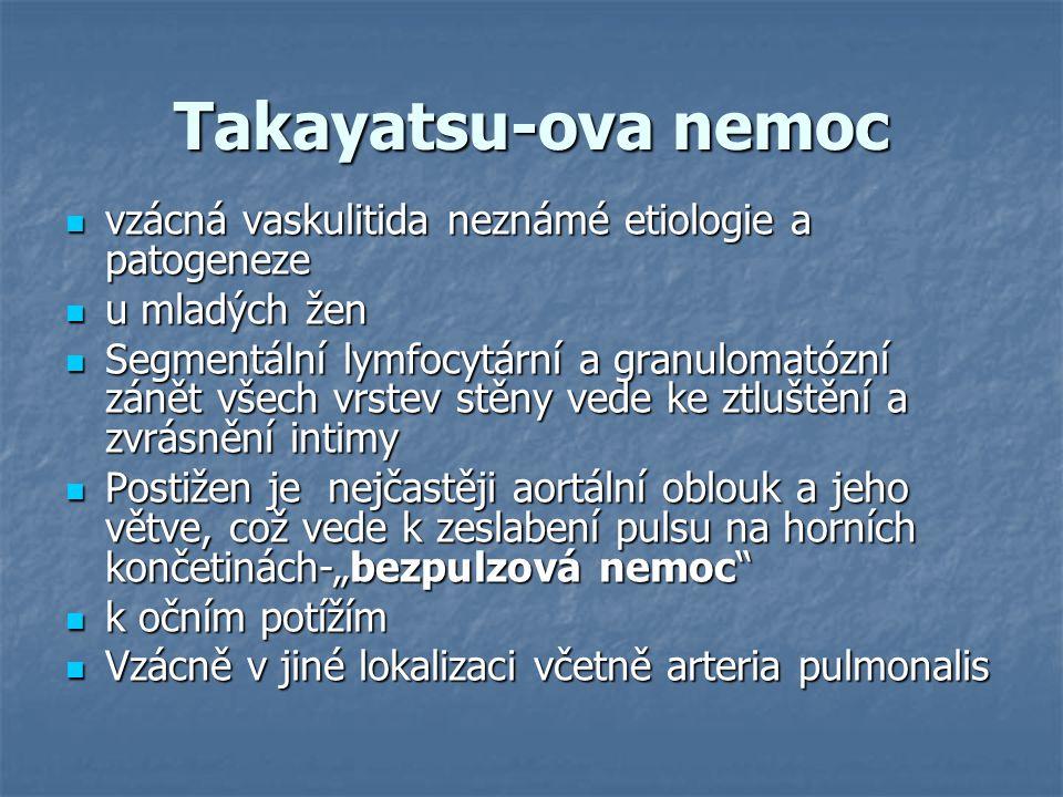 Takayatsu-ova nemoc vzácná vaskulitida neznámé etiologie a patogeneze