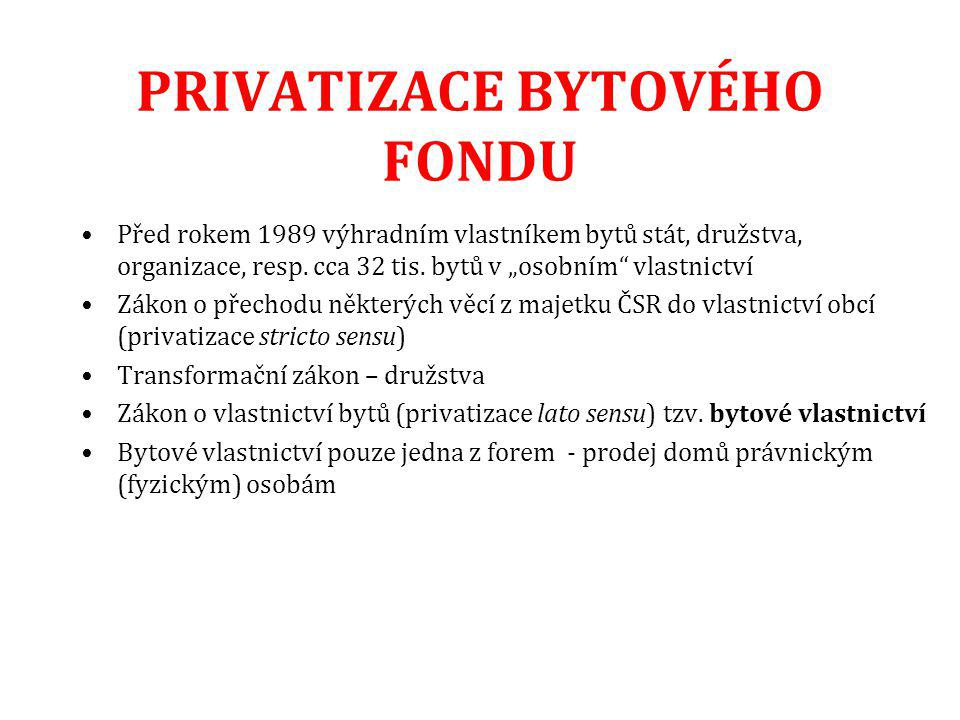PRIVATIZACE BYTOVÉHO FONDU