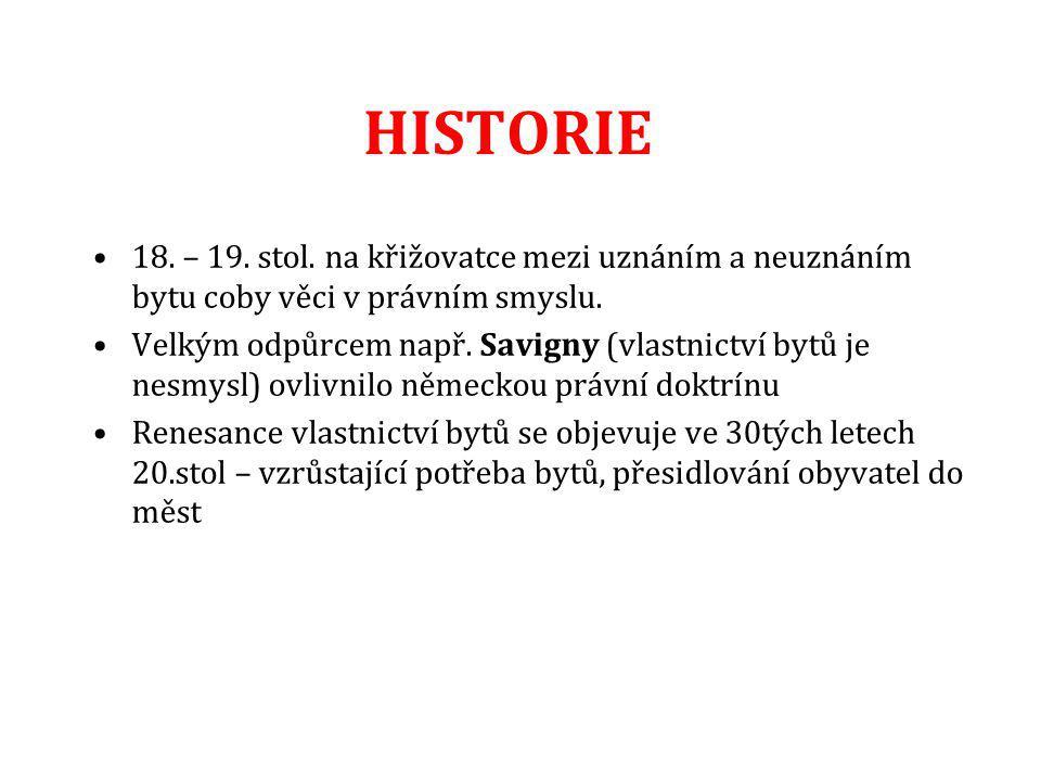 HISTORIE 18. – 19. stol. na křižovatce mezi uznáním a neuznáním bytu coby věci v právním smyslu.