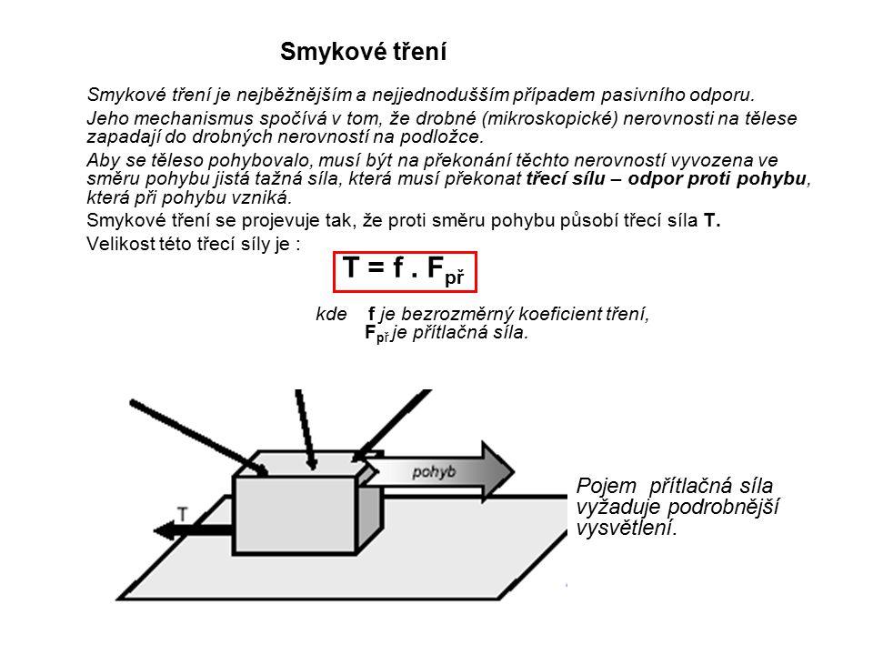 Smykové tření Smykové tření je nejběžnějším a nejjednodušším případem pasivního odporu.