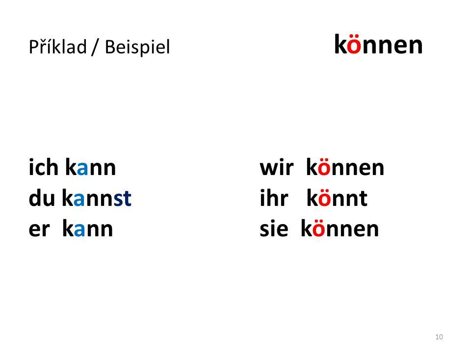 Příklad / Beispiel können