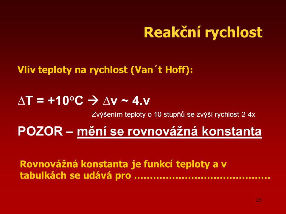 Reakční rychlost ∆T = +10°C  ∆v ~ 4.v